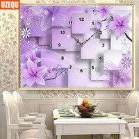 DIY Flower Wall Clock Diamond Painting Cross Stitch Purple Floral Watch Diamond Embroidery Full Round Drill