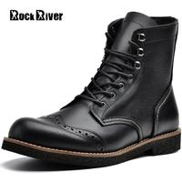 High Quality British Brogue Boots Men Genuine Leather Ankle Boots Autumn Black Brown Handmade Motorcycle Men