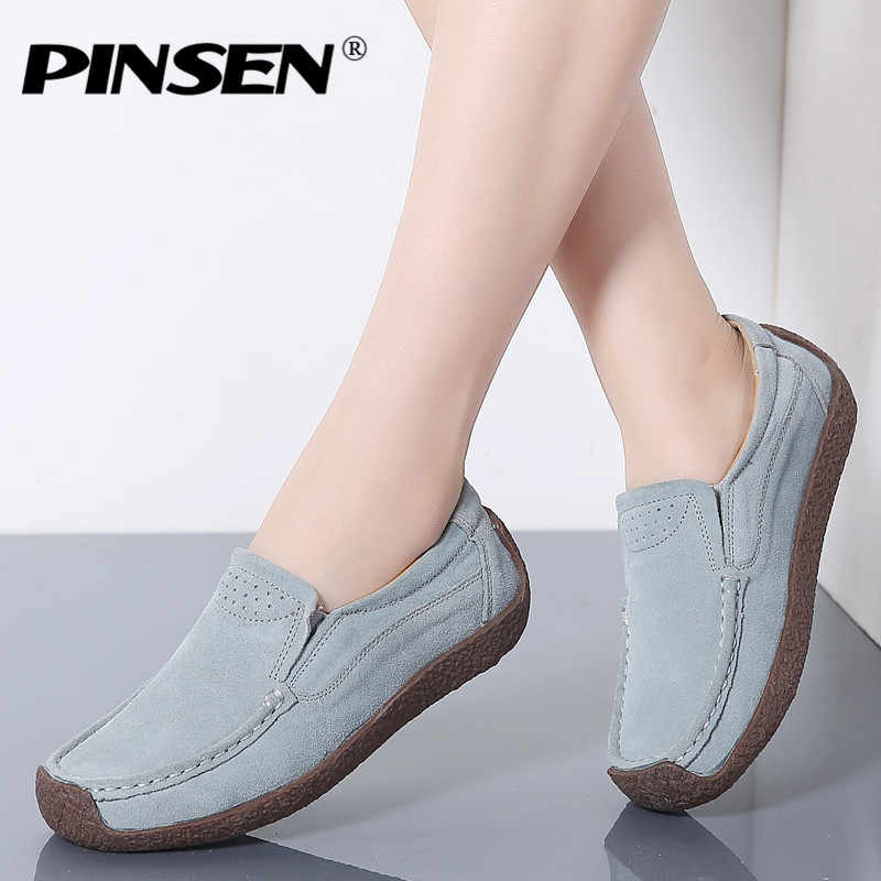 PINSEN 2019 Autumn Women Flats Leather Suede Slip on Loafers Shoes Ladies Ballet Flats Shoes Female Boat Oxford Shoes Moccains