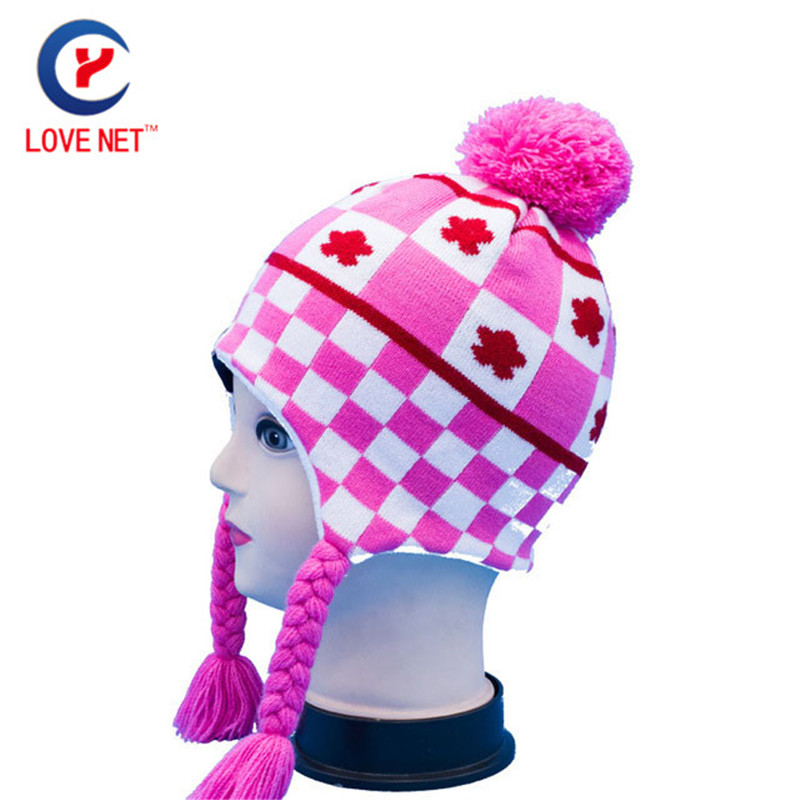 2017 Winter Women Knitted Cartoon hats ear protection Cap Cute Knitting Hat With pink Pompons Skullies Beanies cap x13 the new children s cubs hat qiu dong with cartoon animals knitting wool cap and pile