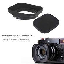 CNC aluminium Vierkante Zonnekap met Cap voor Fuji FUJINON Lens XF 35mm/F2, XF 23mm/F2