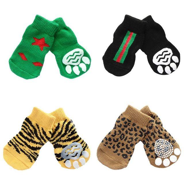 11 estilos 4 unids perro de mascota punto Zapatos patrón ...