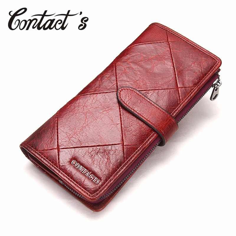 f384e5012e10 Контакта красный длинный клатч кошелек для женщин из натуральной коровьей  кожи Лоскутная стеганые Браслет для смартфона