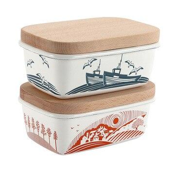 Refrigerador de tanque de almacenamiento de cerámica de queso de 5,7 pulgadas, recipiente fresco estilo occidental, botellas cuadradas gruesas, caja de madera con tapa para mantequilla