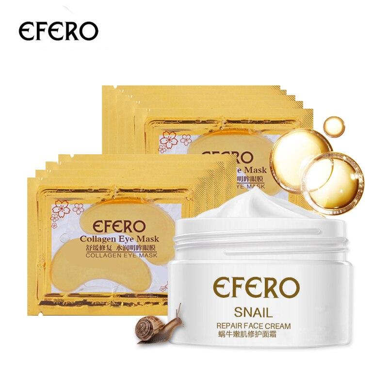 6pcs/set Snail Essence Face Cream Hyaluronic Acid Day Cream Anti-aging Moisturizer Nourishing Collagen Eye Mask Women Skin Care