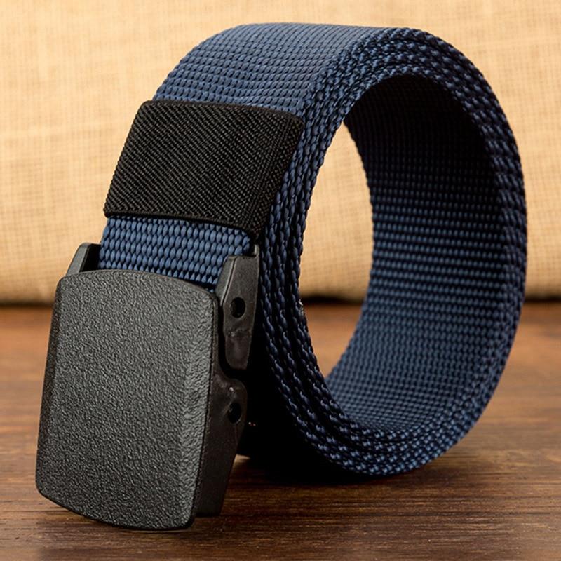 Военный мужской ремень, армейские ремни, регулируемый ремень для мужчин, для улицы, для путешествий, тактический поясной ремень с пластиковой пряжкой для брюк 120 см - Цвет: Blue