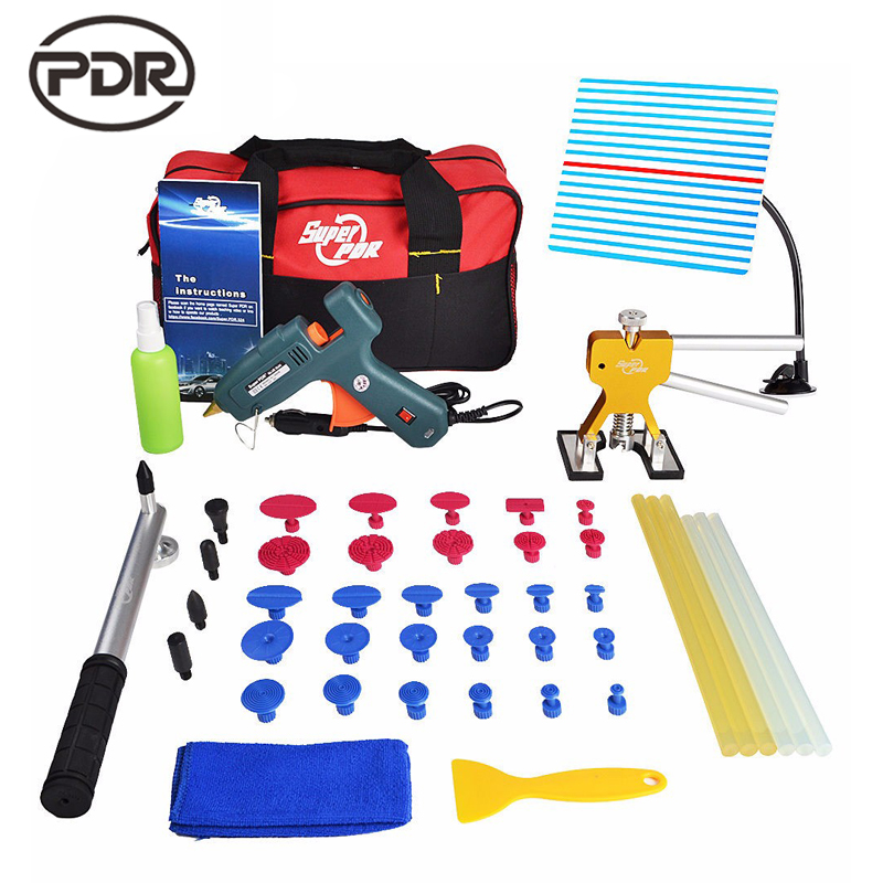 PDR Tools Kit Reflector Board Dent Puller Glue Tabs Fungi PDR Glue For Paintless Dent Repair Car Dent Removal Hand Tool Set pdr tools for car tool set paintless dent repair tools dent puller led lamp reflector board hand tool set pdr kit