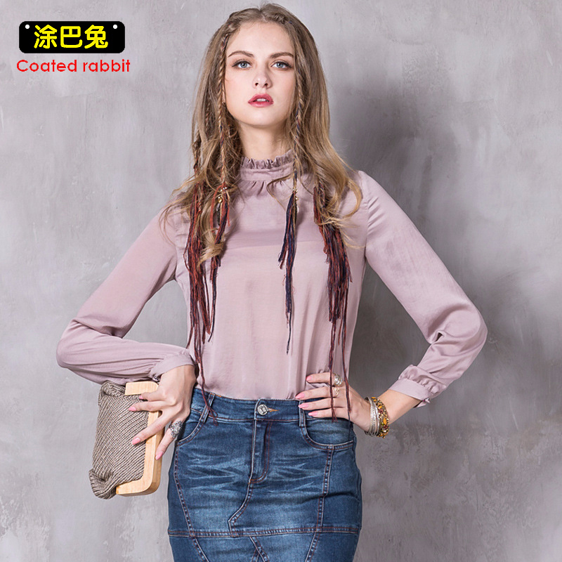 CR 2018 Women Blouse Spring Vintage Ruffled Collar Long Sleeve Tops Casual Shirts Womens Clothes