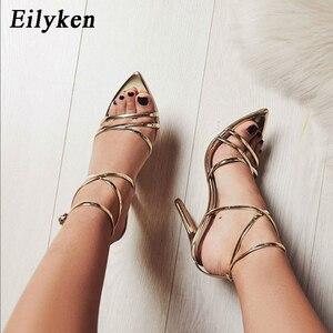 Image 2 - Eilyken/новые женские сандалии в римском стиле на высоком каблуке 12 см, с открытым носком, золотистого/серебристого цвета