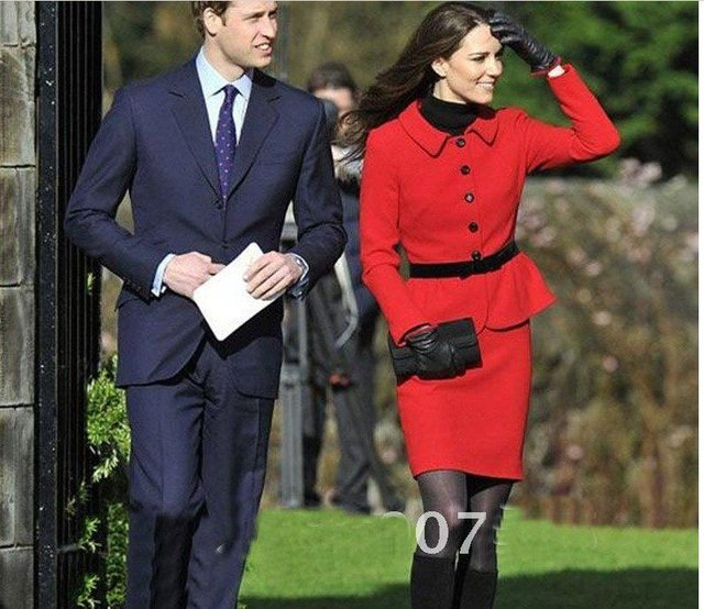 Free Shipping Kate Middleton Red Slim Bride Suit Fashion Ladies