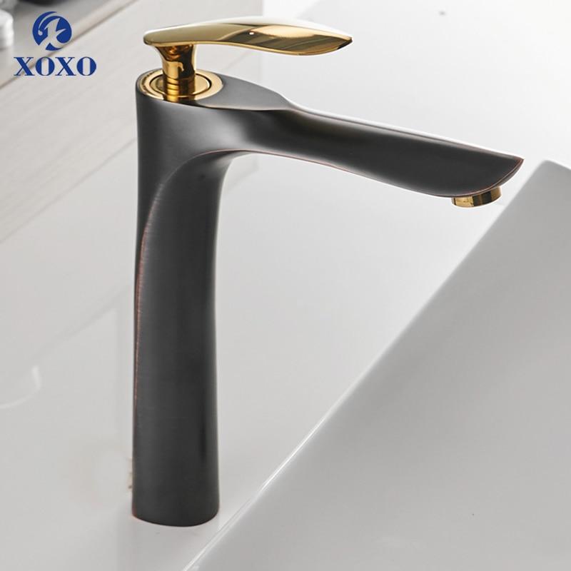 XOXO bassin Fauce tHot et froid mitigeur eau laiton noir mitigeur élégant salle de bain lavabo mitigeur 20055-1