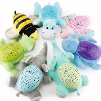 Kid Luminous Animal Plush Toys Magical Starry Star Projection Lamp Light Dolls Toys Projector With Music