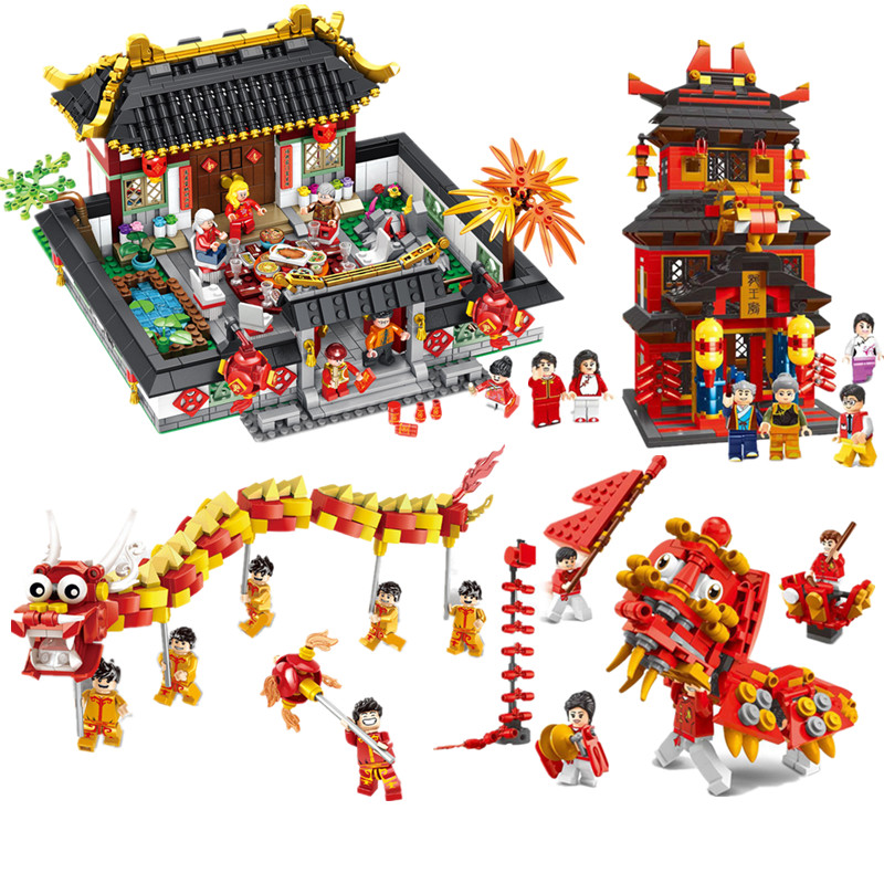 Lego Minifigures Toys Hobbies 2019 City Chinese New Year S Eve Dinner Dragon Dance Team Model Building Blocks