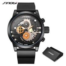 SINOBI Men Quartz WristWatches Navy Design Creative Sports Watch Gear Chronograph Dial For Clock Relogio Masculino