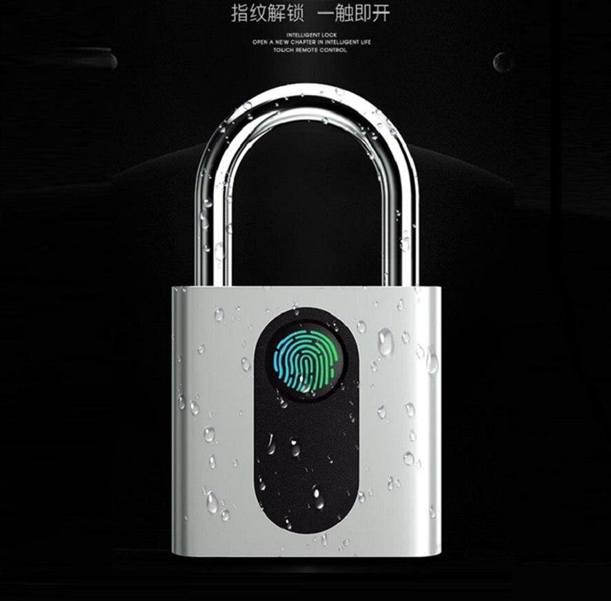 USB Rechargeable Smart Keyless Fingerprint Lock IP65 Waterproof Anti-Theft Security Padlock Door Luggage Case LockUSB Rechargeable Smart Keyless Fingerprint Lock IP65 Waterproof Anti-Theft Security Padlock Door Luggage Case Lock