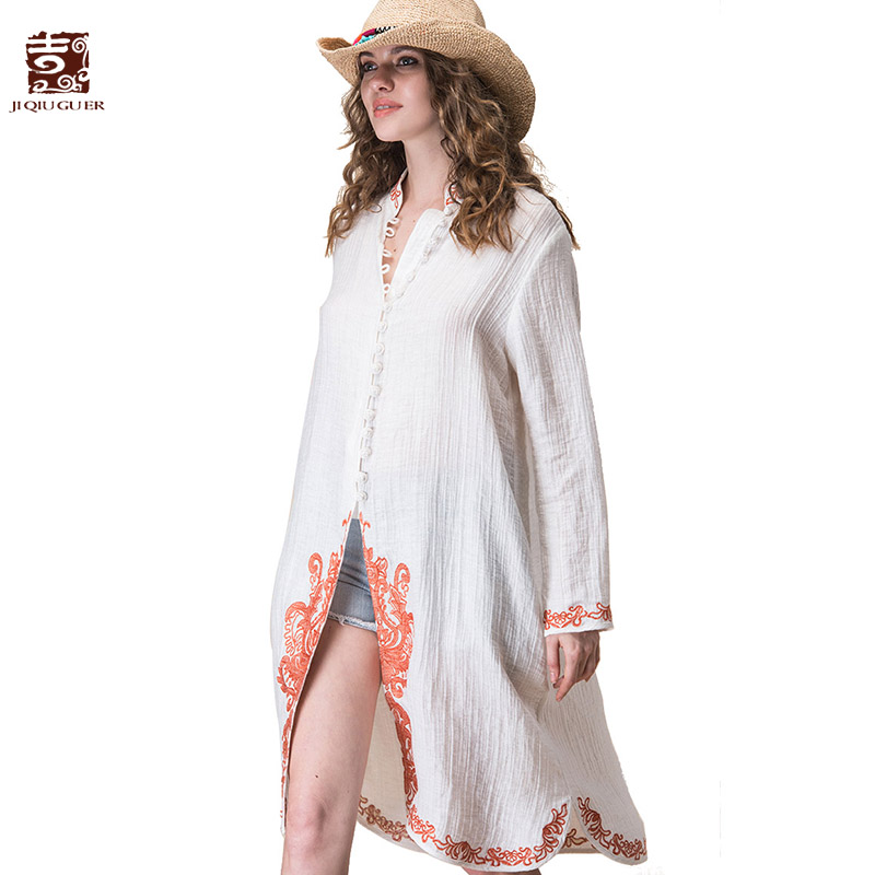 Jiqiuguer Women White Cotton Linen Blouses Shirts Vintage Plus Size Floral Embroidery Loose Long Casual Tops G172Y022