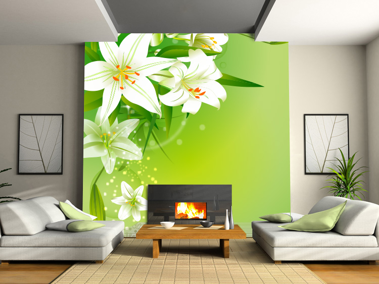 цена art home decor Fresh lily tv background wallpaper bedroom custom wall paper sofa large 3d three-dimensional mural personalized онлайн в 2017 году