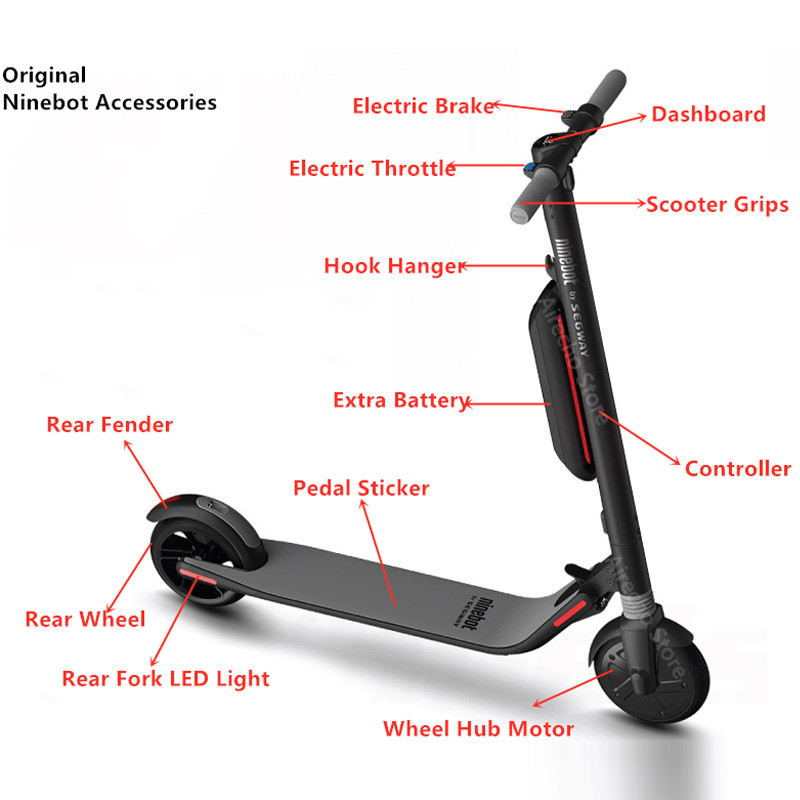 US $8 34 30% OFF|Original Kickscooter Ninebot ES1 ES2 Accessories Kit  Controller Dashboard Rear Wheel Fork Electric Brake Throttle Seat  Charger-in