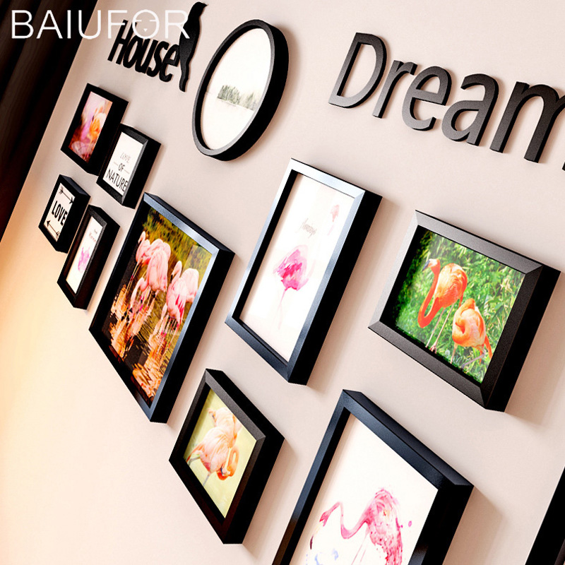 BAIUFOR 11PCS Flamingo Nordic Poster Wooden Frames DIY Family Combination Photo fotolijst Collage for Wall Living Room Decor ...