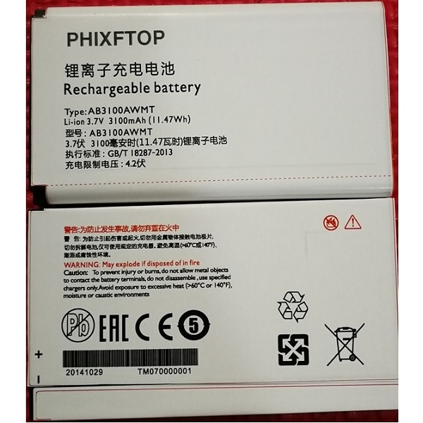 PHIXFTOP original 3100mAh battery For Xenium E180 E181 <font><b>E560</b></font> cellphone AB3100AWMT for <font><b>PHILIPS</b></font> CTE181 CTE180 CTE560 Mobile phone image