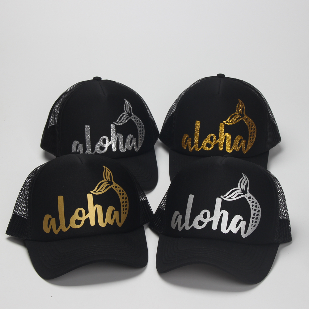 8daa864c412 DongKing Fashion Trucker Hats Aloha Mermaid Glitter Print Printed ...