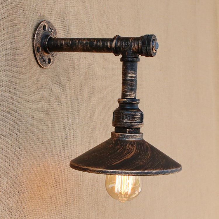 Loft Style Iron Water Pipe Lamp Edison Wall Sconce With Switch Retro ...