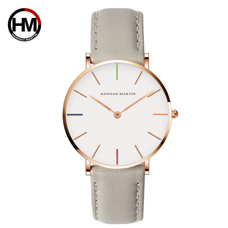 Japan Movement Fashion Casual Women Famous Top Brand Luxury Gray Leather Simple Waterproof Watch reloj mujer bayan kol saati недорго, оригинальная цена