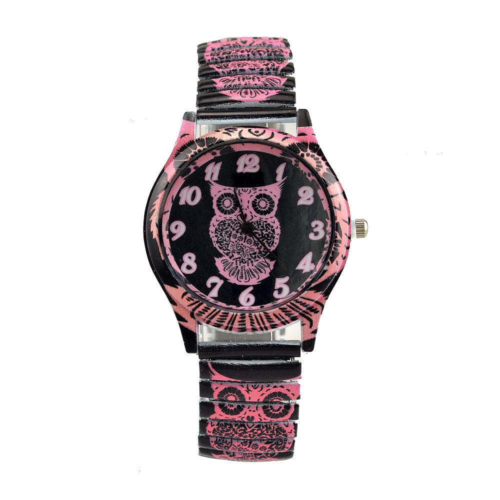Women Wristwatch Casual Fashion Female Crystal Elastic Strap Watch Luxury Brand Quartz Owl Watch Bracelet For Girl Clock Saati