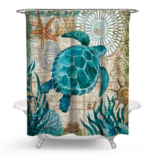 Hot Sail Sea Turtle Print Waterproof Shower Curtain Polyester Fabric Bath Curtain Octopus Home Bathroom Curtains with 12 Hooks цена