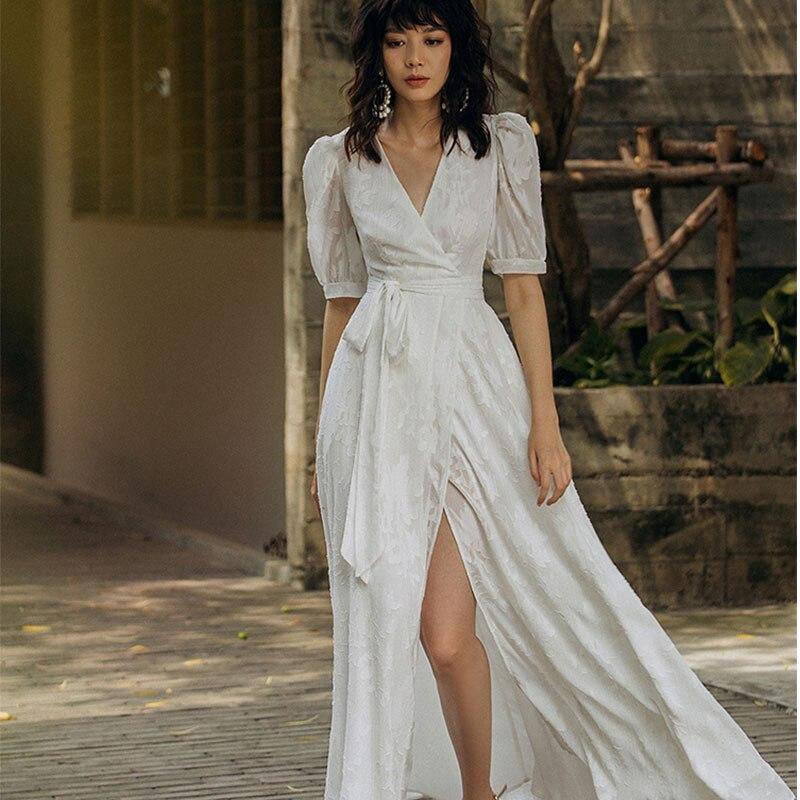 Décontracté plage style blanc robe en mousseline de soie robe d'été manches bouffantes longue robe vacances femmes col en v cheville longueur robe