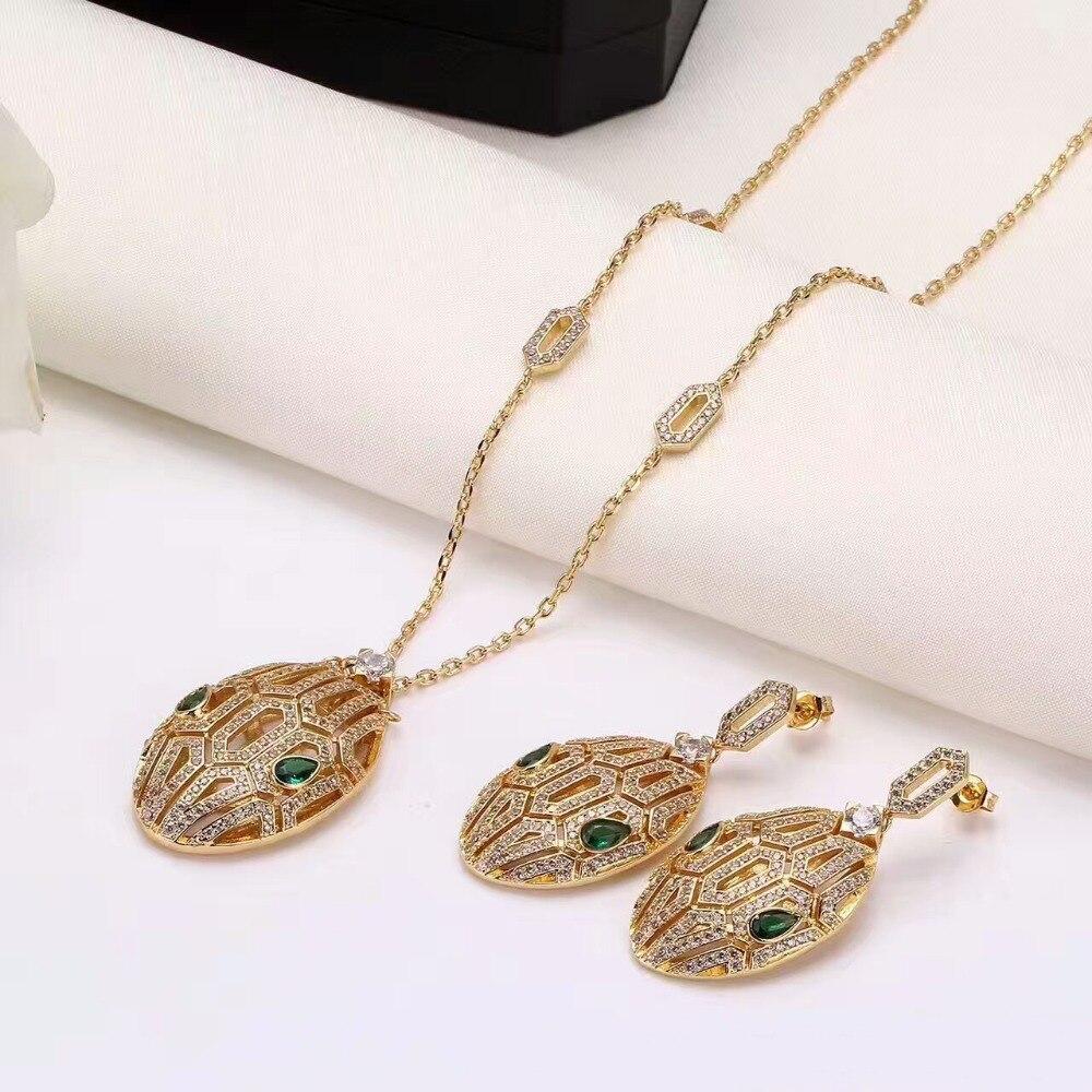 Лидер продаж полный кристалл головой змеи Серьги Цепочки и ожерелья комплект ювелирных изделий для Для женщин