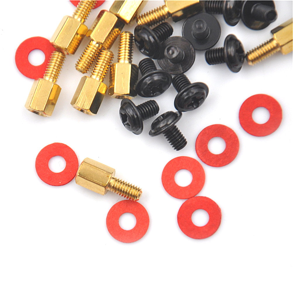 10Pcs Golden Motherboard Riser+Silver Screws Computer Red Washers 6.5mm 6 32 M3 High Quality|Screws| - AliExpress
