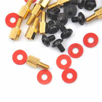 10Pcs Golden Motherboard Riser+Silver Screws Computer Red Washers 6.5mm 6-32-M3 High Quality
