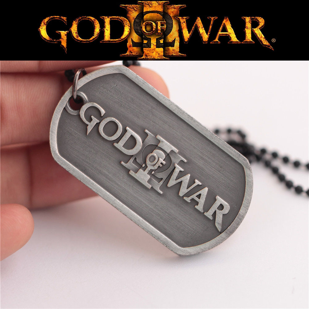 Games Anime PS4 ACT God Of War Kratos Silver Necklace For Mens Neckless Male Necelace Colar Masculino Couro Bling Jewelry