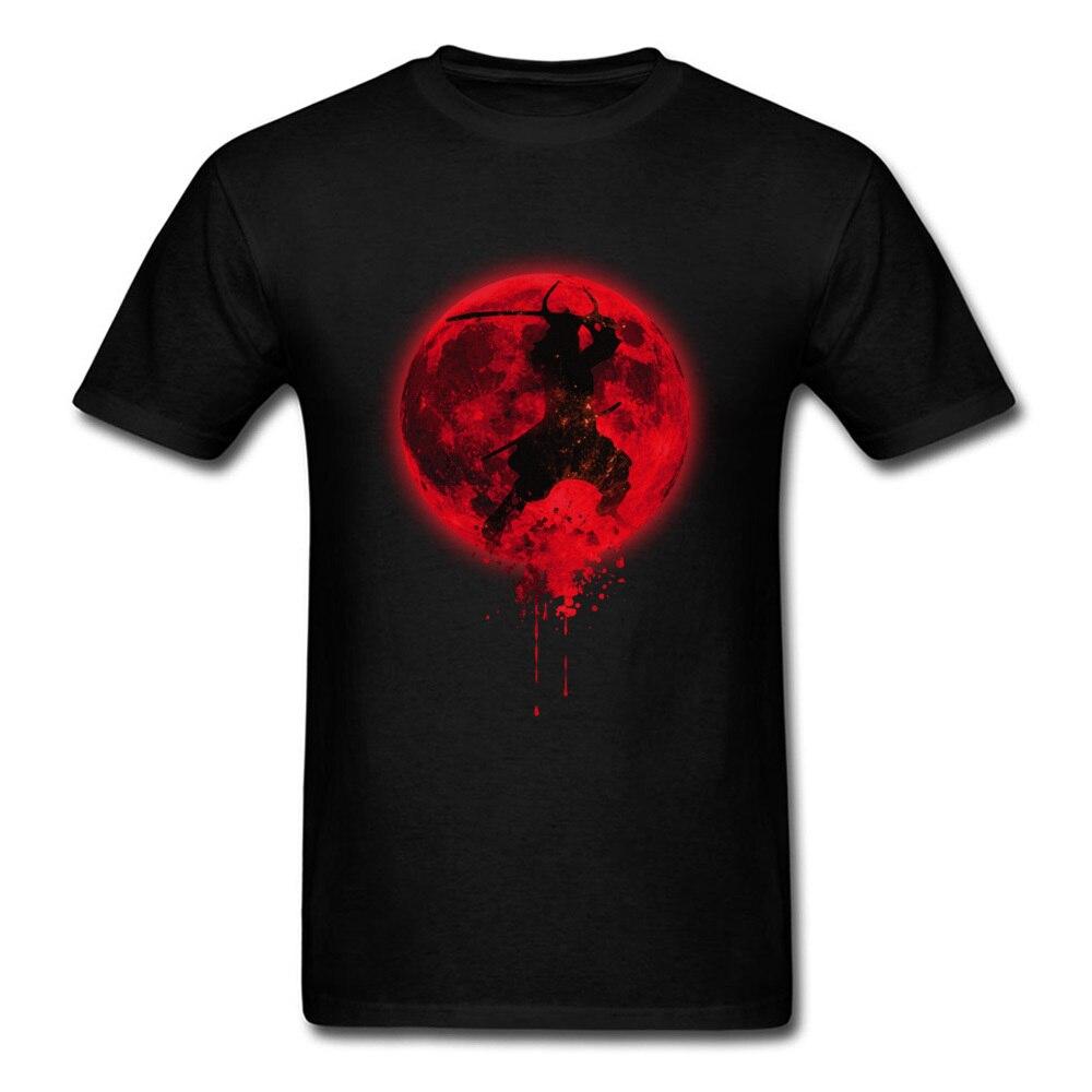 Cool Samurai Red Moon Paint Men Black T-shirt Short Sleeve Cotton Tee Shirt Ninja Japan Cartoon Male Guys Club Tshirt