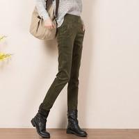 Autumn Winter Corduroy Pants Women Trousers Casual High Waist Pants Plus Size Thick Elastic Waist Plus Velvet Pencil Pants Q525