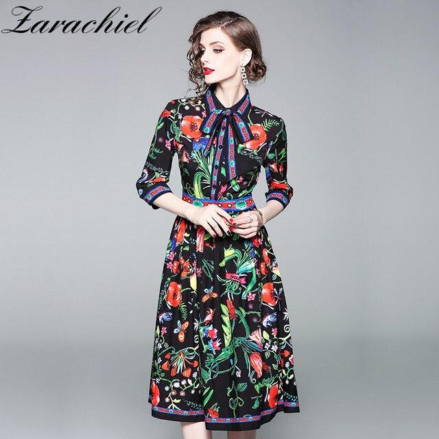 aa7ad439f5a1d Turn Down Collar Bow Dress Elegant Half Sleeve Flowers Print Knee Length  Midi dress 2019 Runway