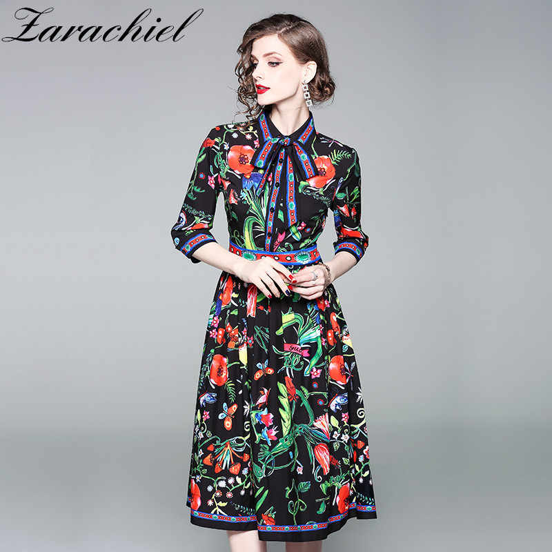 Turn Down Collar Bow Dress Elegant Half Sleeve Flowers Print Knee
