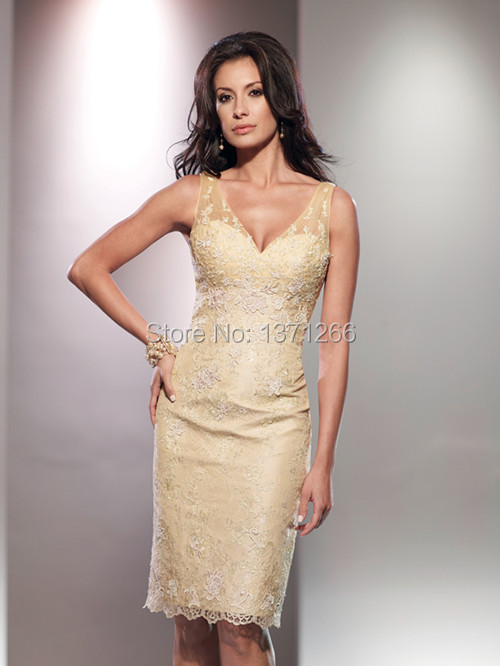 2015 vestido de madrinha Sheath V-Neck Off The Shoulder Zipper Back Mother Of The Bride Lace Dresses.2