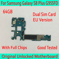For Samsung Galaxy S8 Plus G955FD Original unlocked Motherboard Dual Sim Card, MB Plate for Samsung S8 G955FD Logic board 64GB