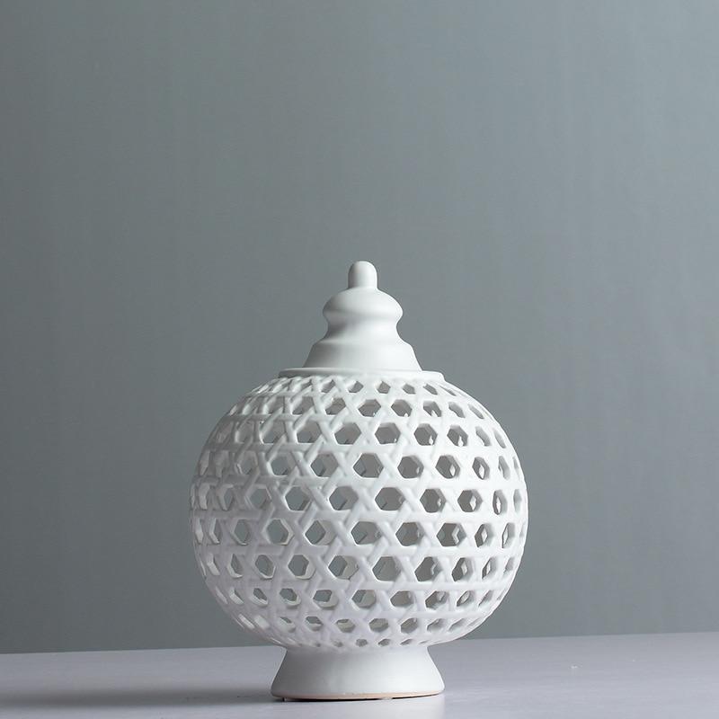 Main Creux Cercle Tube réservoir de stockage Pot En Céramique vase à fleurs bougeoir Multi-Fonction Maison Décorations R757