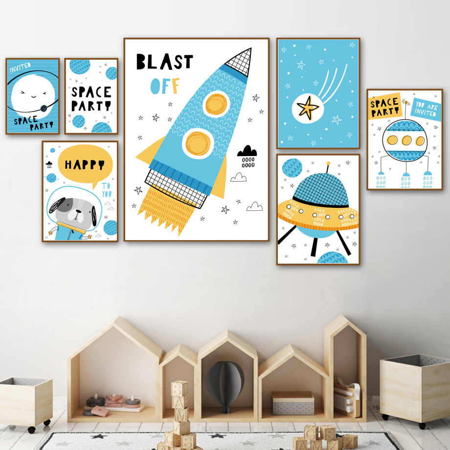 Cartoon Space Rocket Dog Star Earth Nordic Posters And Prints Wall Art Canvas Painting Nursery Wall Picture Baby Kids Room Decor