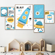 Cartoon Space Rocket Dog Star Earth Nordic Posters And Prints Wall Art Canvas Painting Nursery Picture Baby Kids Room Decor