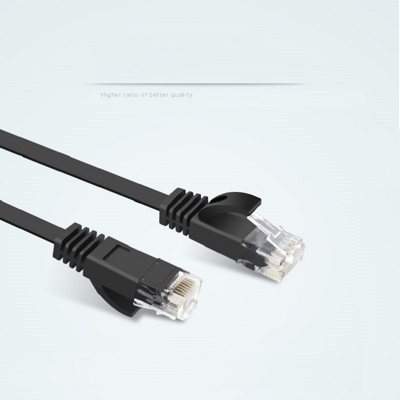 0 5M 2FT Pure copper wire CAT6 Flat UTP Ethernet Network Cable RJ45 Patch LAN cable black white color