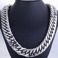 Fashion Gift 22mm Heavy Silver Tone Double Curb Link Rombo Mens Chain Boy 316L Stainless Steel Necklace 18-36inch Jewelry DLHN54