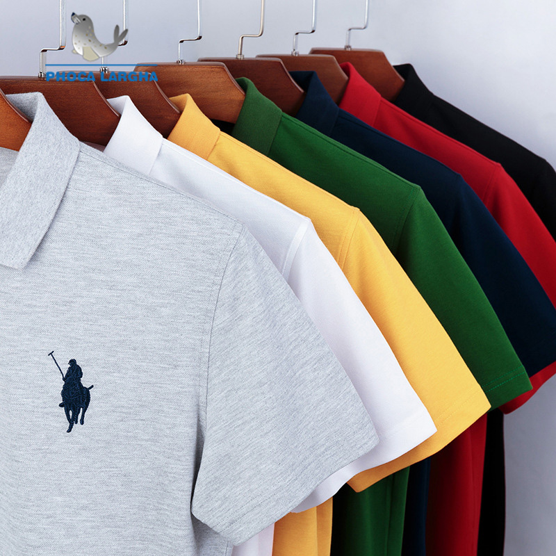 Casual   Polo   Shirt Men Solid Color Embroidery Summer Short Sleeve   Polo   For Man Slim Fit Cotton Camisa   Polo   Shirt Masculina