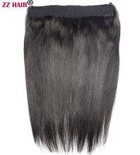 """Zzhair 16 """"41 см 100% бразильских волос 80 г флип в Пряди человеческих волос для наращивания 1 шт. Halo волос-клипы природные прямые волосы-remy"""