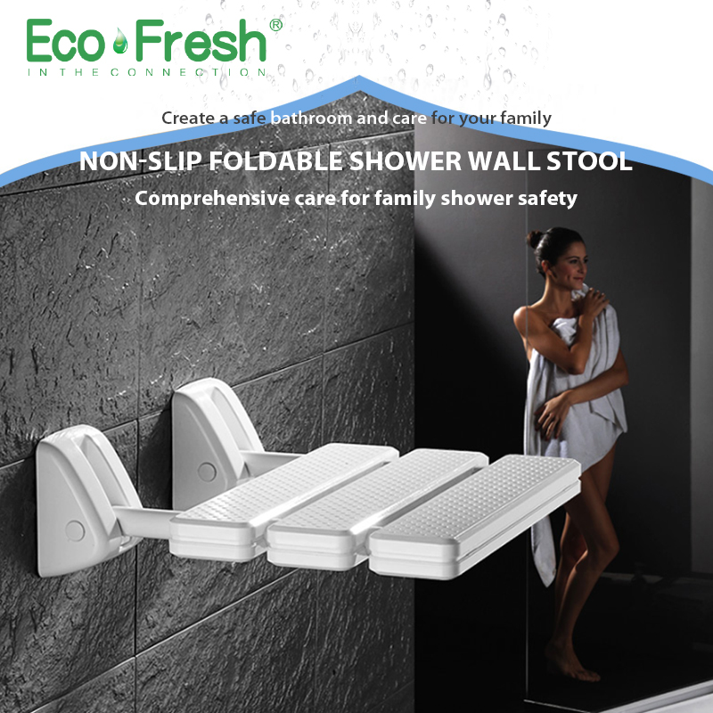 Ecofresh Wall Mounted Shower Seat bathroom shower folding seat folding beach Bath shower Stool toilet shower chair stones footprint on the beach patterned bathroom shower curtain