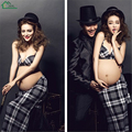 3pcs/set Hat+Plaid Bra+Long Skirt Maternity Photography Clothing Hot Pregnancy Photo Shoot Beach Clothes Set Ropa De Embarazo