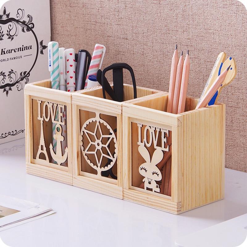 Creative Pen Stand Designs : Pc creative wooden box pen holder office fashion
